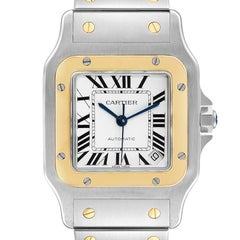 Cartier Santos Galbee XL Steel Yellow Gold Mens Watch W20099C4 Unworn
