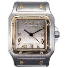 Cartier Santos Gold Steel Men's Wristwatch Ref 1566