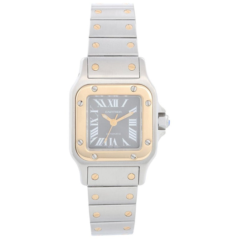 Cartier Santos Ladies Steel & Gold 2-Tone Automatic Watch 2423 For Sale