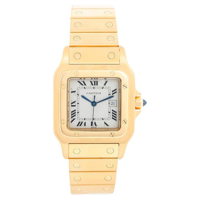 Cartier Santos Men's 18k Yellow Gold Watch W20010C5 For Sale