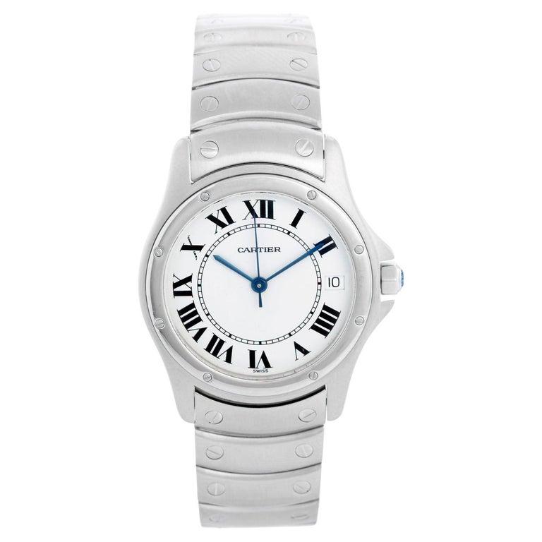 Cartier Santos Men's/Ladies Midsize Stainless Steel Automatic Watch For Sale