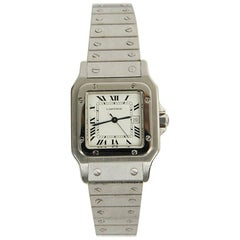 Cartier Santos MM Ladies Women Watch Wristwatch Gold Steel