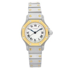 Cartier Santos Octagon Steel 18k Gold White Dial Automatic Ladies Watch 0907