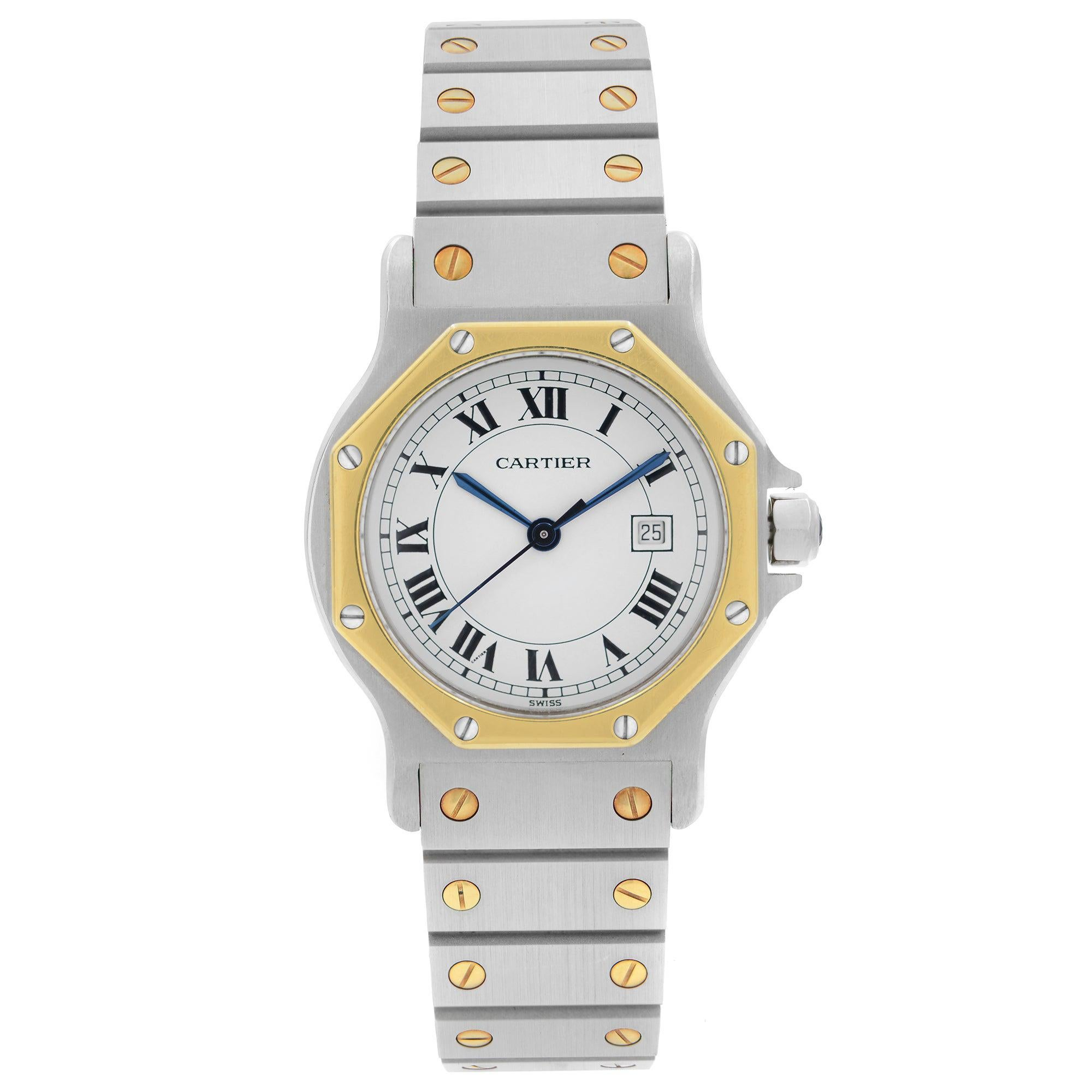 Cartier Santos Octagon Steel Gold White Dial Automatic Ladies Watch W2001683
