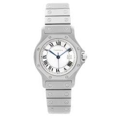 Cartier Santos Octagon Steel White Roman Dial Automatic Ladies Watch 2965