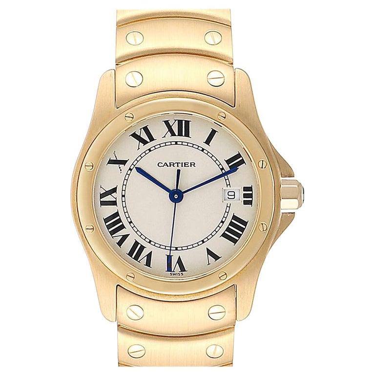 Cartier Santos Ronde 18 Karat Yellow Gold Unisex Watch W20028G1 For Sale