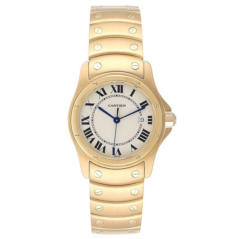 Cartier Santos Ronde 18K Yellow Gold Unisex Watch W20028G1. Quartz movement. 18K yellow gold case 33.0 mm in diameter. Steel octagonal crown set with the faceted blue sapphire. 18K yellow gold bezel punctuated with 8 signature screws. Scratch