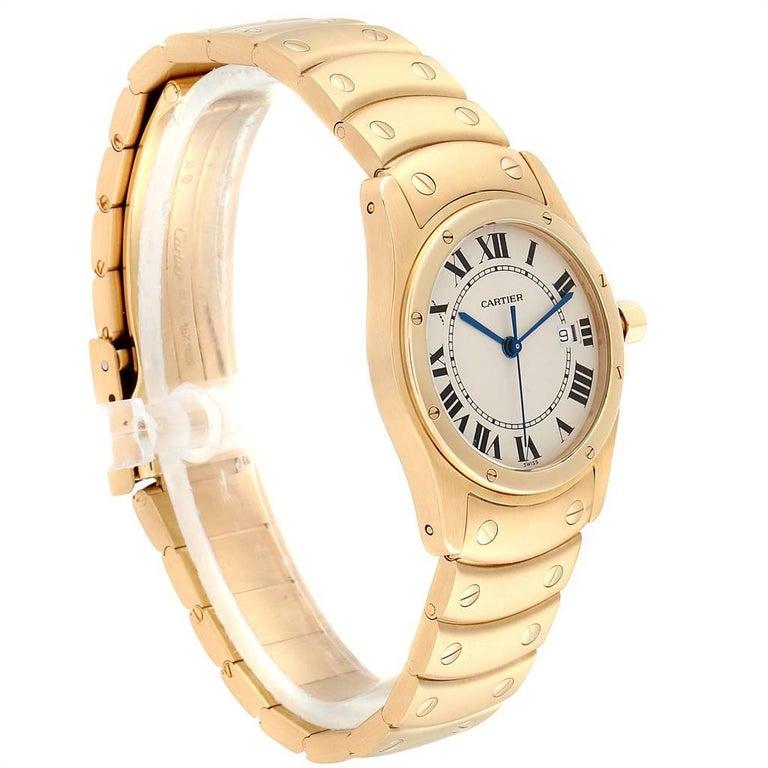 Cartier Santos Ronde 18 Karat Yellow Gold Unisex Watch W20028G1 In Excellent Condition For Sale In Atlanta, GA
