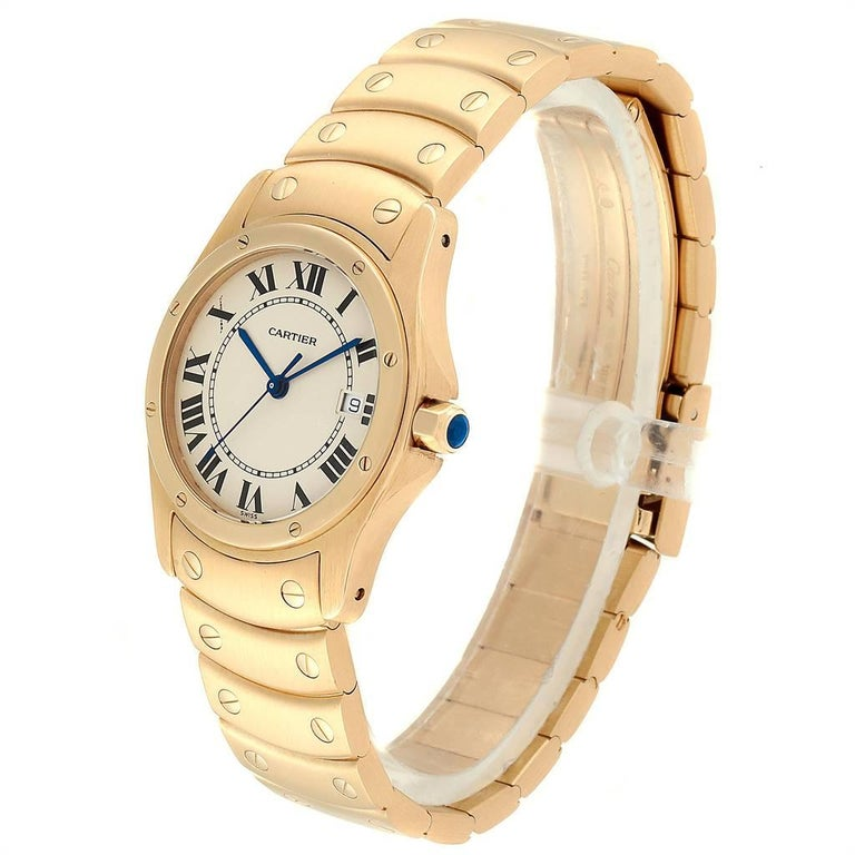 Women's or Men's Cartier Santos Ronde 18 Karat Yellow Gold Unisex Watch W20028G1 For Sale