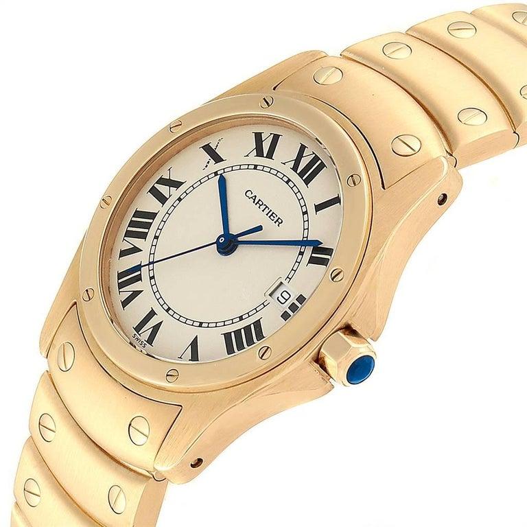 Cartier Santos Ronde 18 Karat Yellow Gold Unisex Watch W20028G1 For Sale 1