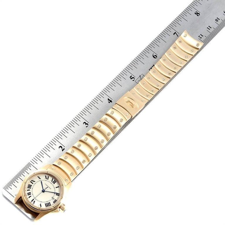 Cartier Santos Ronde 18 Karat Yellow Gold Unisex Watch W20028G1 For Sale 4