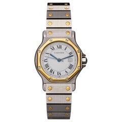Cartier Santos Ronde Automatic Steel and Gold Wristwatch