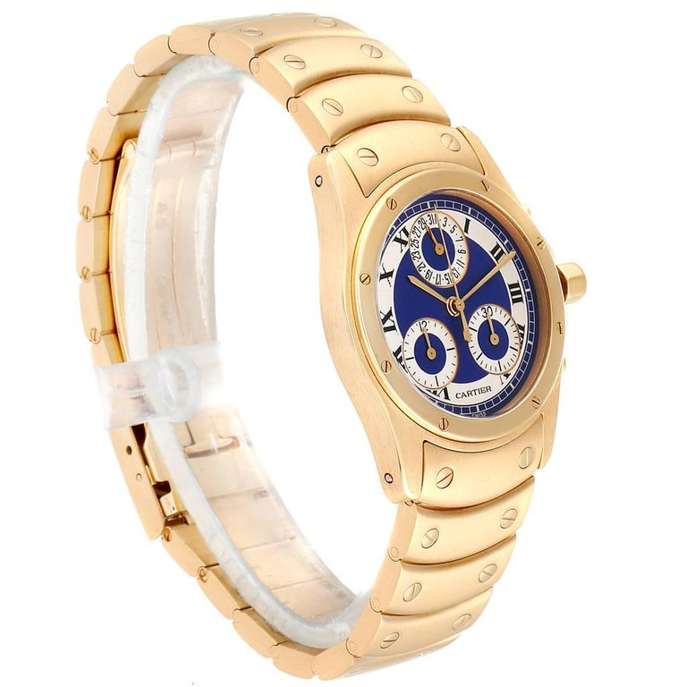 Cartier Santos Ronde Chronograph Blue Dial Yellow Gold Watch W15078G1 In Excellent Condition For Sale In Atlanta, GA