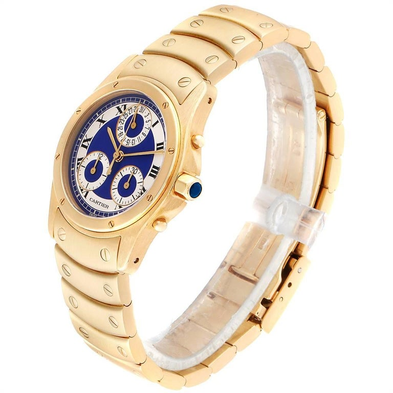 Women's or Men's Cartier Santos Ronde Chronograph Blue Dial Yellow Gold Watch W15078G1 For Sale