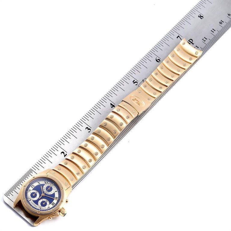Cartier Santos Ronde Chronograph Blue Dial Yellow Gold Watch W15078G1 For Sale 4