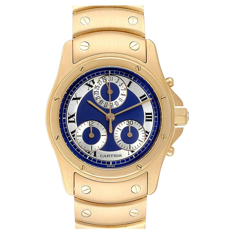 Cartier Santos Ronde Chronograph Blue Dial Yellow Gold Watch W15078G1 For Sale