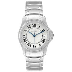 Cartier Santos Ronde White Dial Steel Unisex Watch W35002F5
