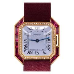 Cartier Santos Ruby and Diamond 18 Karat Yellow Gold Manual Wind Wristwatch