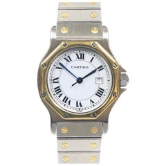 Cartier Santos Steel and Yellow Gold Mid Size Quartz Wristwatch