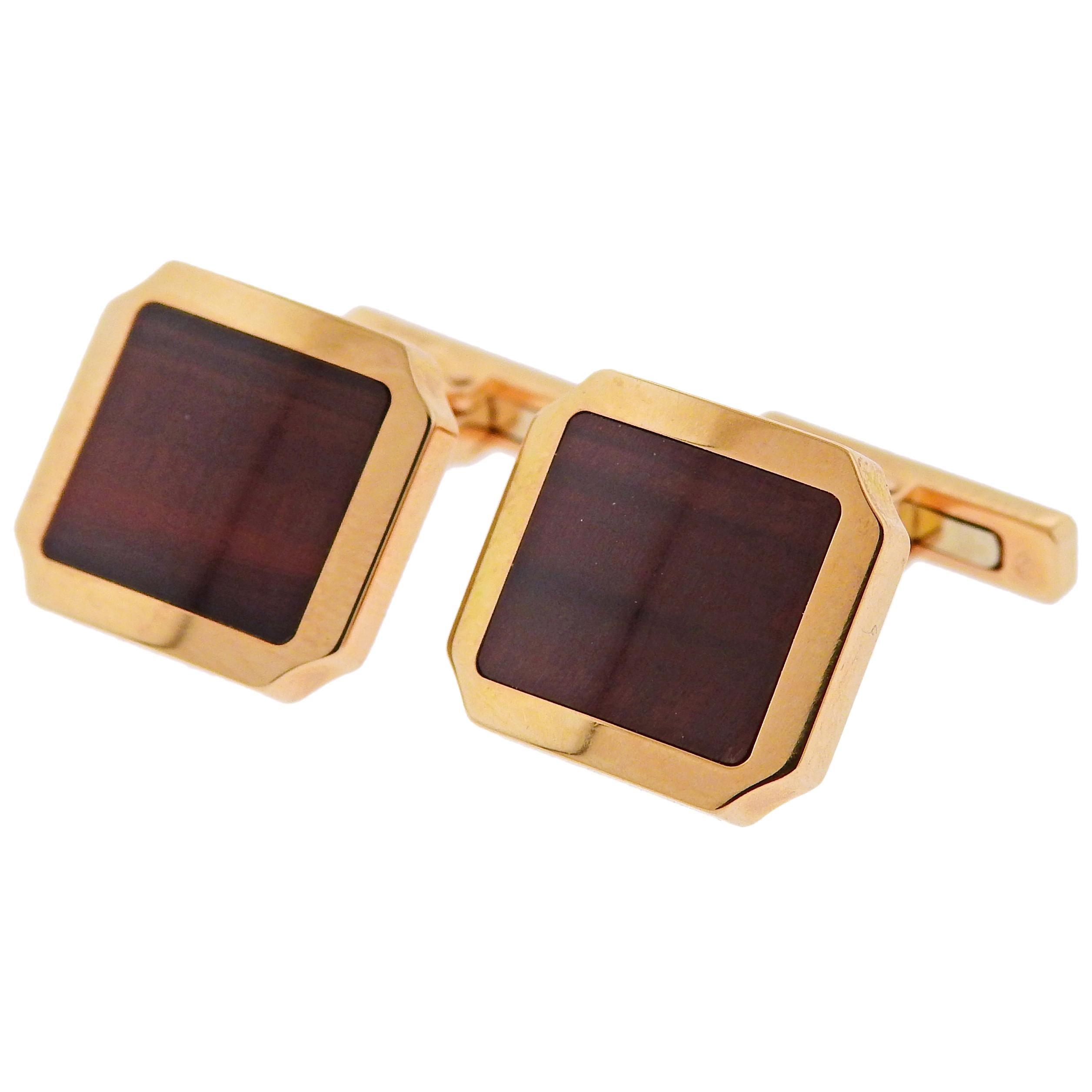 Cartier Santos Tiger's Eye Rose Gold Cufflinks