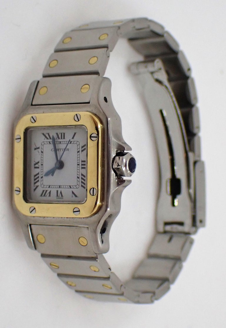 Cabochon Cartier Santos Two-Tone Automatic Ladies Watch For Sale