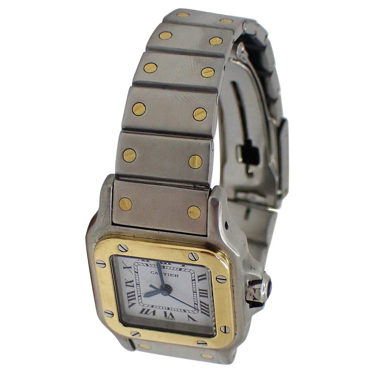 Cartier Santos Two-Tone Automatic Ladies Watch For Sale