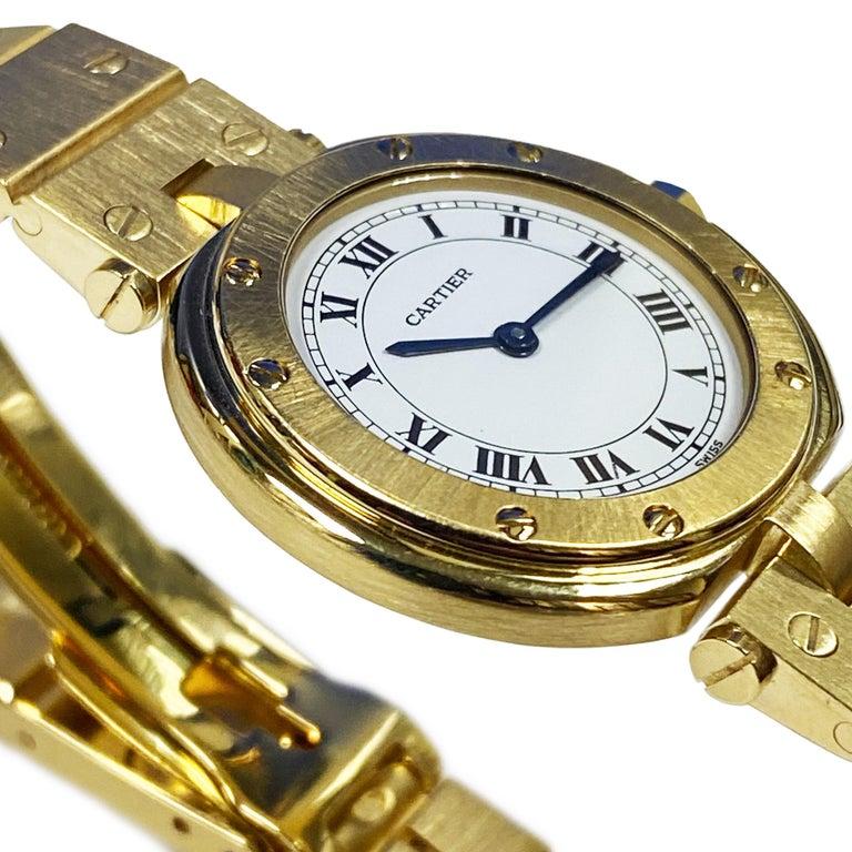 Cartier Santos Vendome Gold Ladies Quartz Bracelet Wrist Watch In Excellent Condition For Sale In Chicago, IL