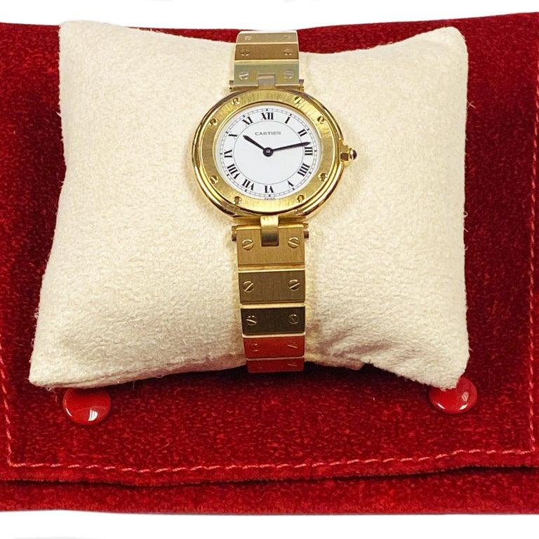 Cartier Santos Vendome Gold Ladies Quartz Bracelet Wrist Watch For Sale 2