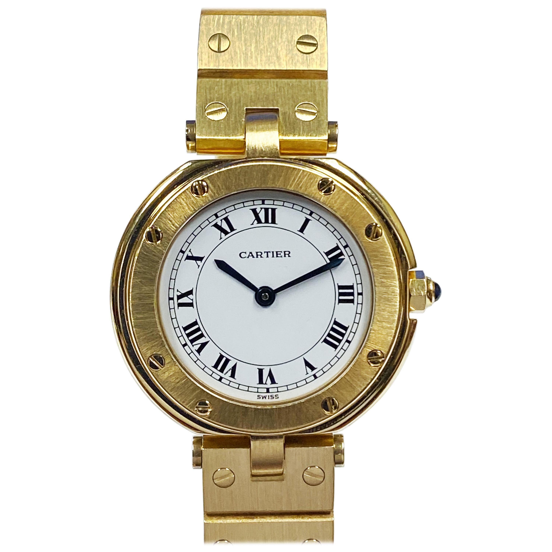 Cartier Santos Vendome Gold Ladies Quartz Bracelet Wrist Watch