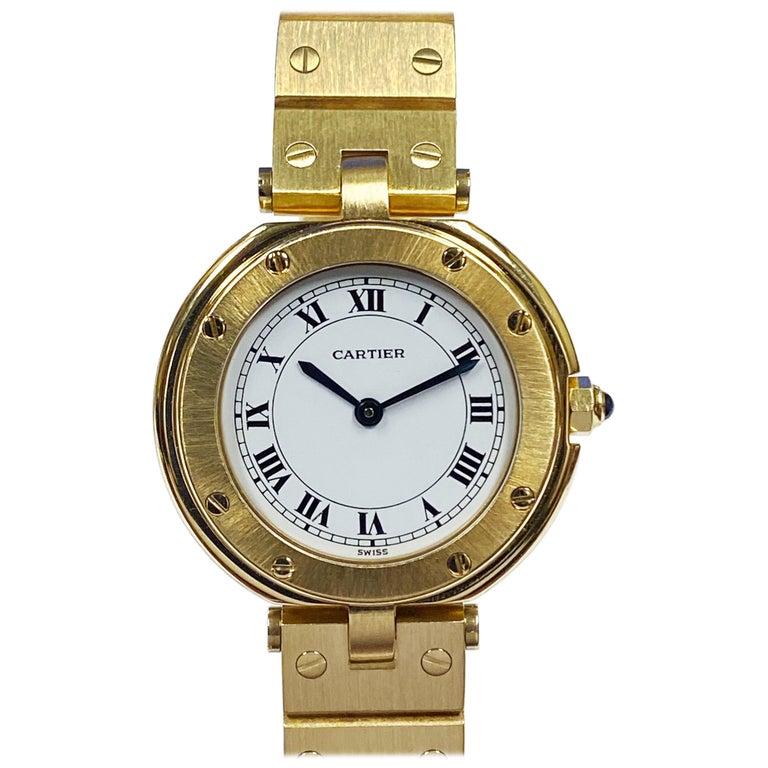 Cartier Santos Vendome Gold Ladies Quartz Bracelet Wrist Watch For Sale