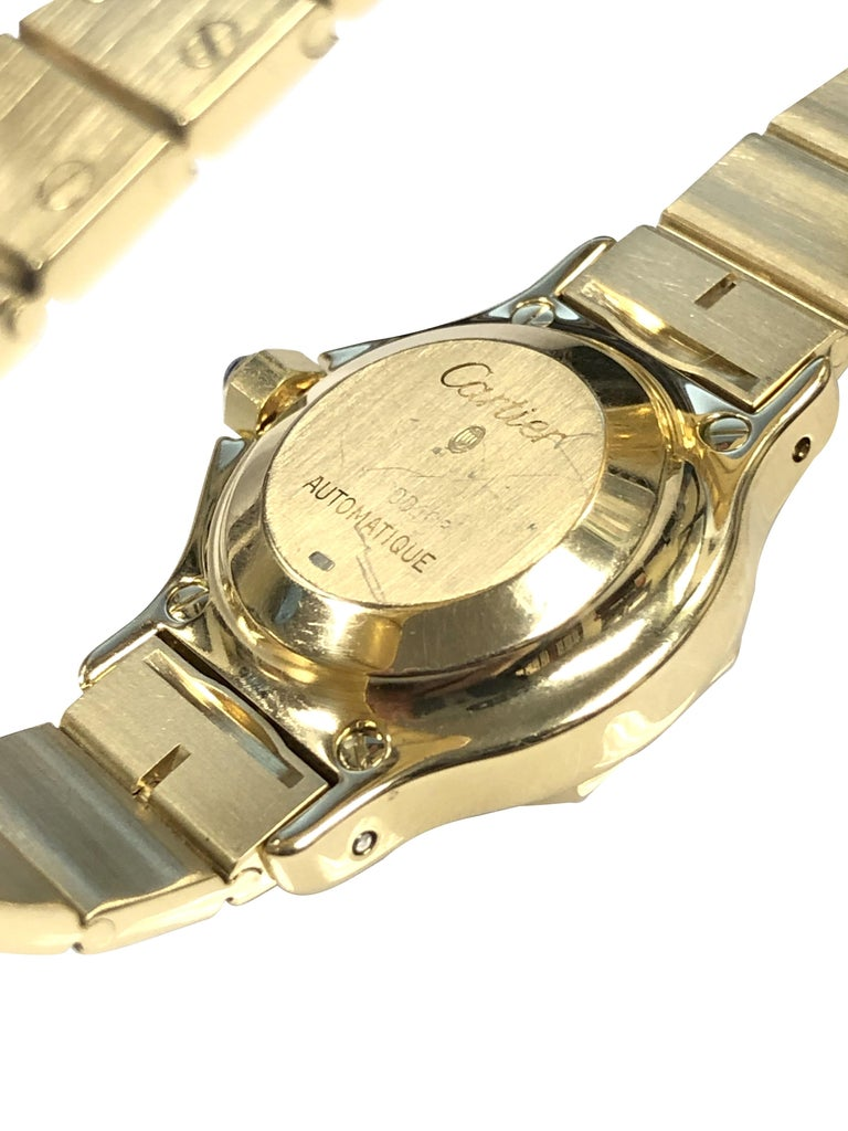 Cartier Santos Yellow Gold Ladies Automatic Wrist Watch In Excellent Condition For Sale In Chicago, IL