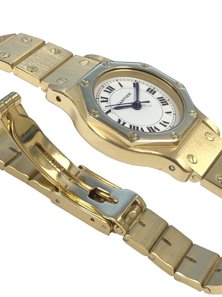Women's Cartier Santos Yellow Gold Ladies Automatic Wrist Watch For Sale