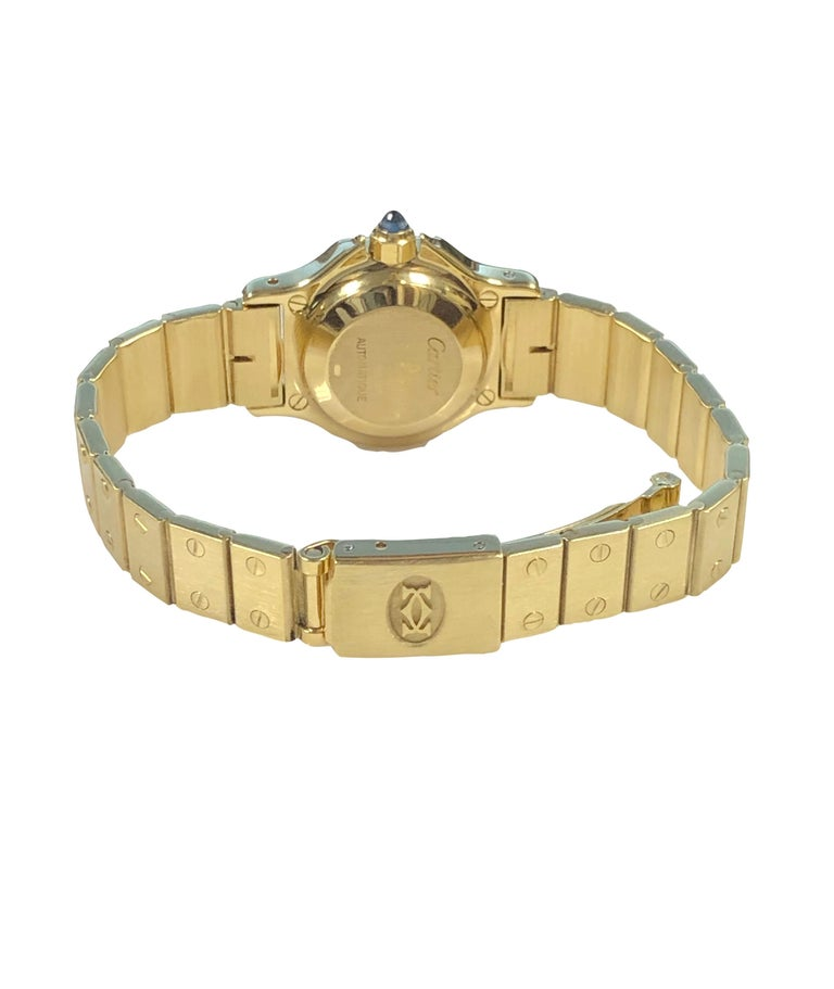Cartier Santos Yellow Gold Ladies Automatic Wrist Watch For Sale 1