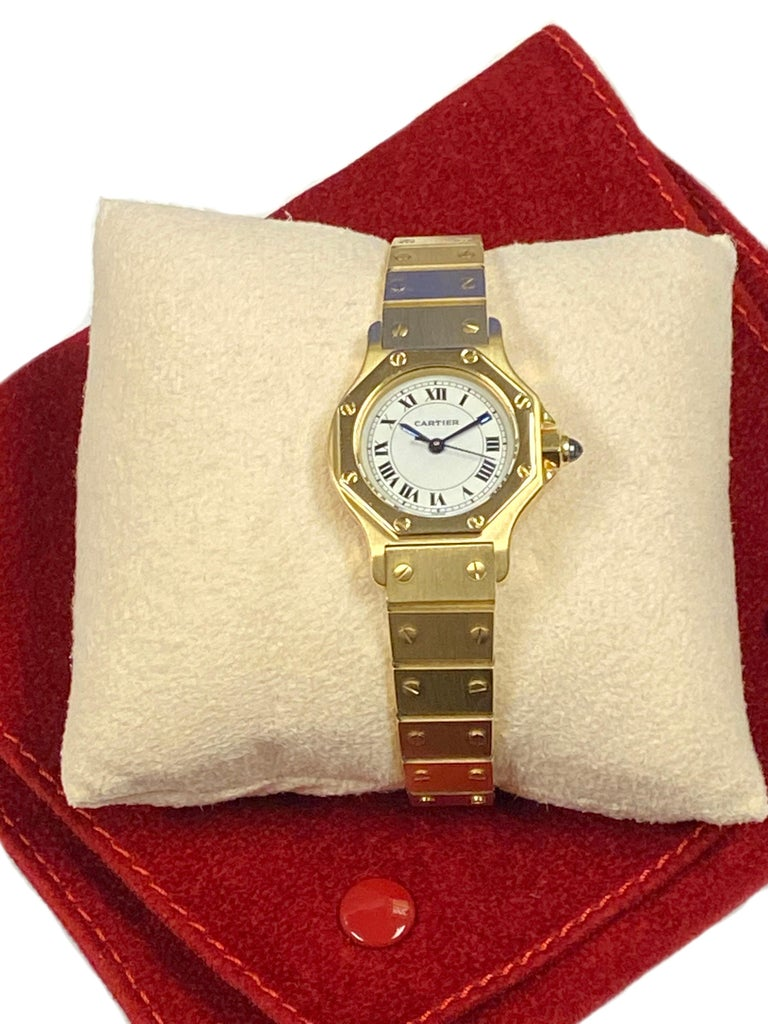 Cartier Santos Yellow Gold Ladies Automatic Wrist Watch For Sale 2
