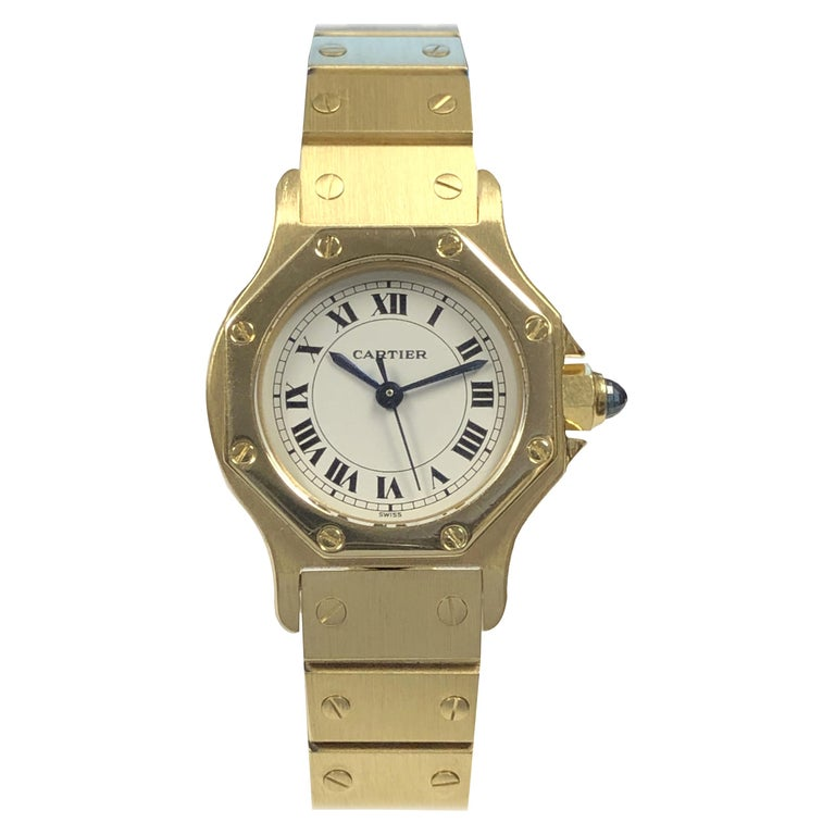 Cartier Santos Yellow Gold Ladies Automatic Wrist Watch For Sale