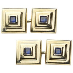 Cartier Sapphire and Gold Pyramid Cufflinks, Circa 1950