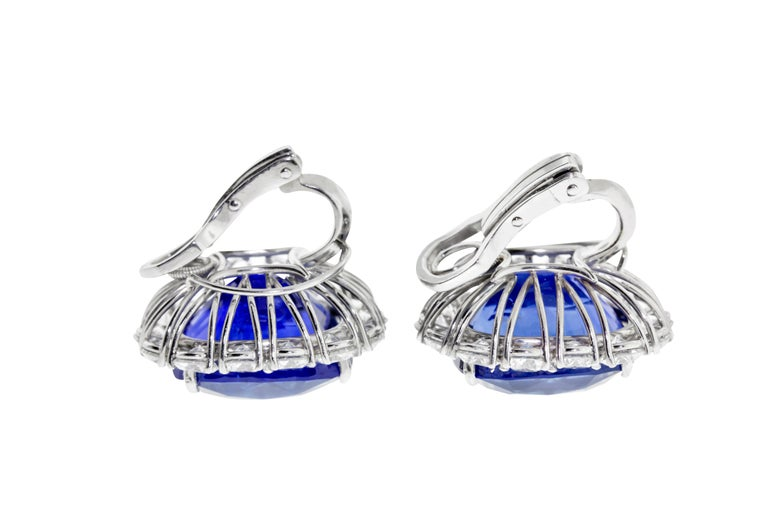 Contemporary Cartier Sapphire and Diamond GIA and AGL Certified Ear Clips For Sale