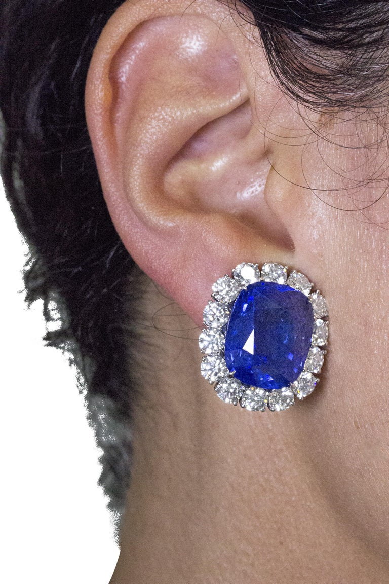 Women's Cartier Sapphire and Diamond GIA and AGL Certified Ear Clips For Sale