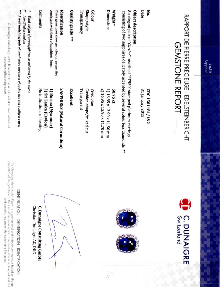 Cartier Sapphire and Diamond GIA and AGL Certified Ear Clips For Sale 3