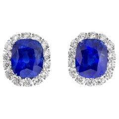 Cartier Sapphire and Diamond GIA and AGL Certified Ear Clips