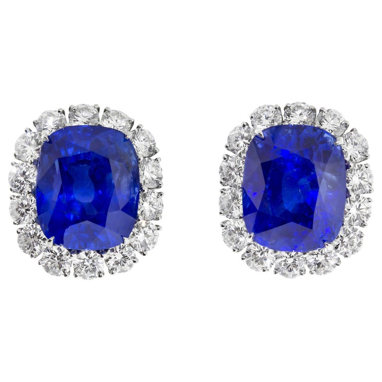 Cartier Sapphire and Diamond GIA and AGL Certified Ear Clips For Sale