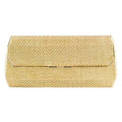 Cartier Sapphire Diamond 18 Karat Two-Tone Gold Basket Woven Clutch Evening Bag
