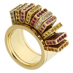 Cartier Sapphire Diamond Yellow Gold Cocktail Band Ring