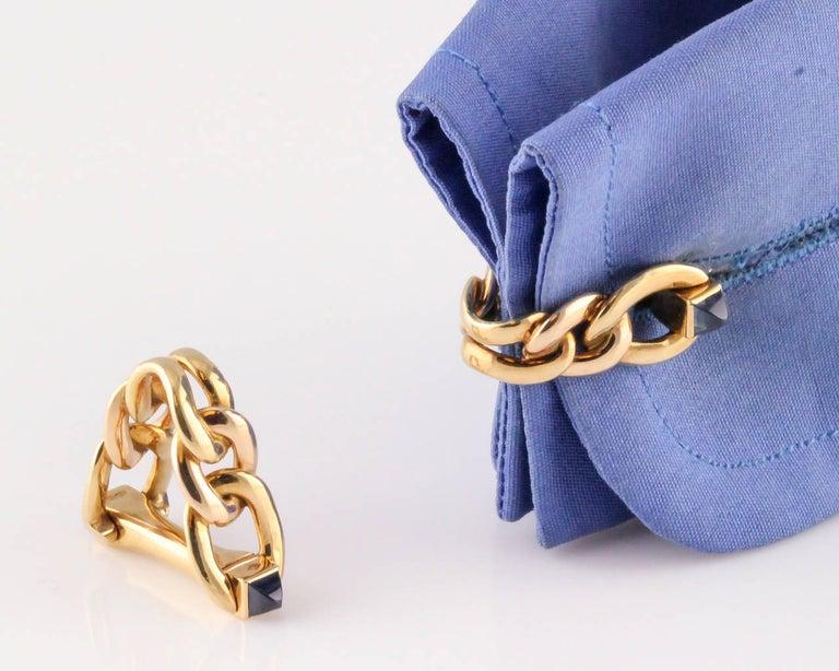 Sugarloaf Cabochon Cartier Sapphire Gold Triangular Link Cufflinks For Sale