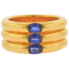 Cartier Sapphire Gold Wide Band Ring