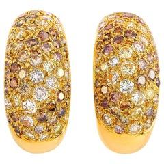Cartier Sauvage 18 Karat Yellow Gold 2.15 Carat Diamond Clip-On Earrings