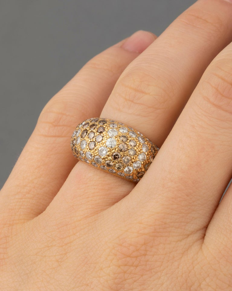 Beautiful Cartier Ring, made in 1999. Yellow gold 18k. 3 carats of diamonds. Ring size 50 or 5.25 USA. Signed with numbers and year. 12.10 grams