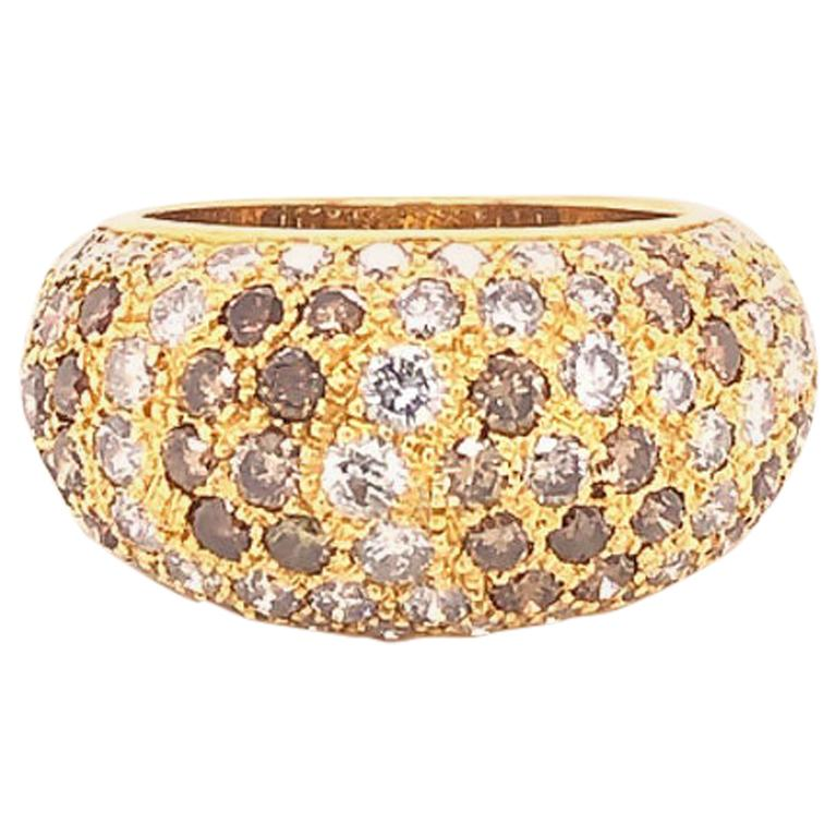 Cartier Sauvage White and Brown Diamond Dome Ring