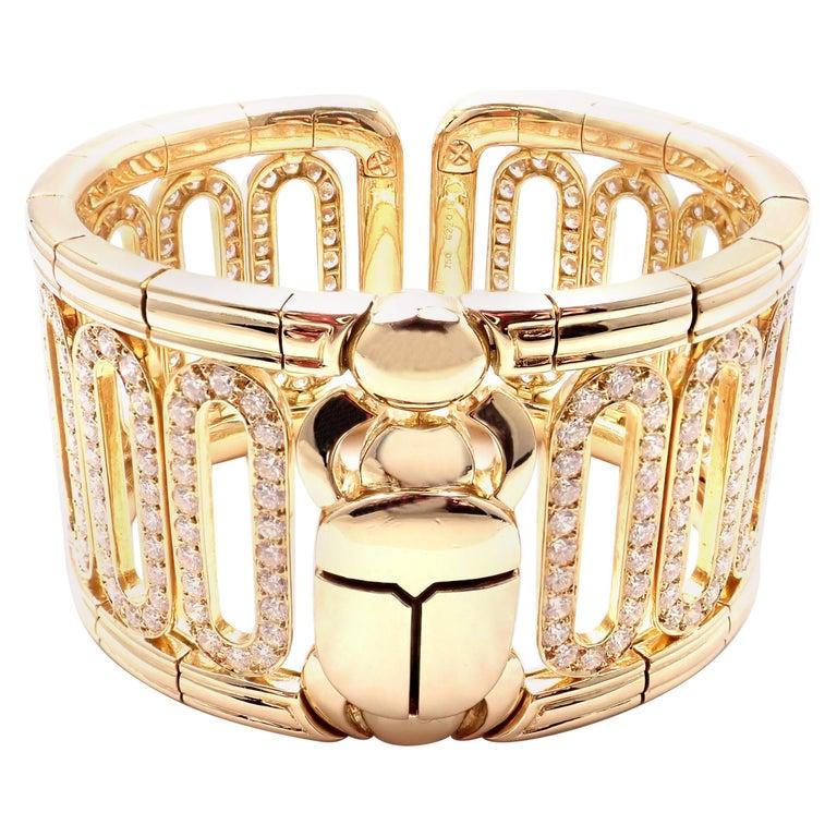 Cartier Scarab 15.4 Carat Diamond Yellow Gold Cuff Bangle Bracelet For Sale