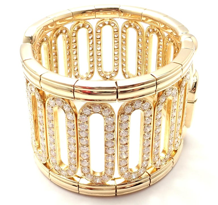 18k Yellow Gold Scarab Diamond Cuff Bangle Bracelet by Cartier.  With 308 round brilliant cut diamonds VVS1 clarity, E color total weight approx. 15.4ct Details: Length: 6.5
